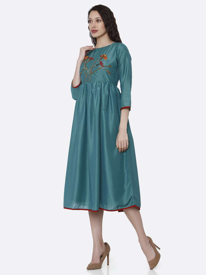 Left Side Embroidered Viscose Plain Long Kurti With Turquoise Color