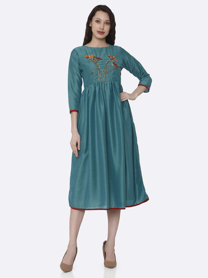 Full Front Side Casual Embroidered Viscose Long Plain Kurti With Turquoise Color