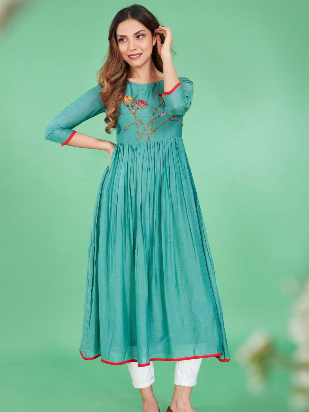 Front Side Embroidered Viscose Plain Long Kurti With Turquoise Color