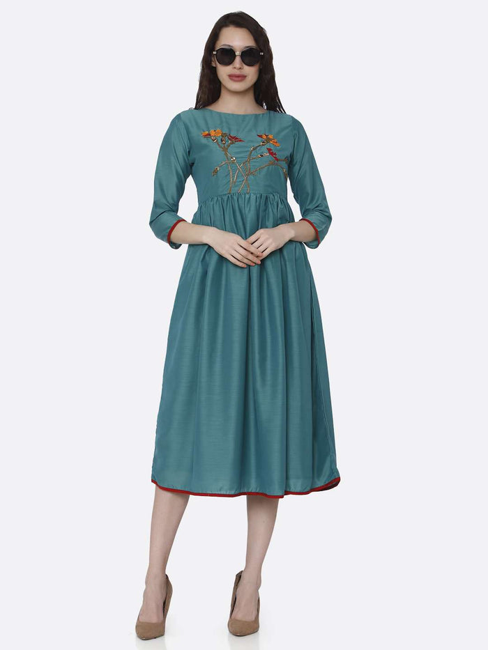 Full Front Side Casual Turquoise Embroidered Viscose Plain Long Kurti
