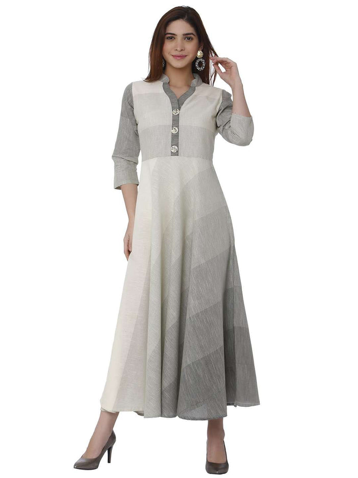 Casual Handloom Cotton Kurti With White Color