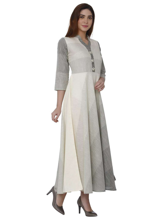 Right Side Handloon Cotton Kurti With White Color