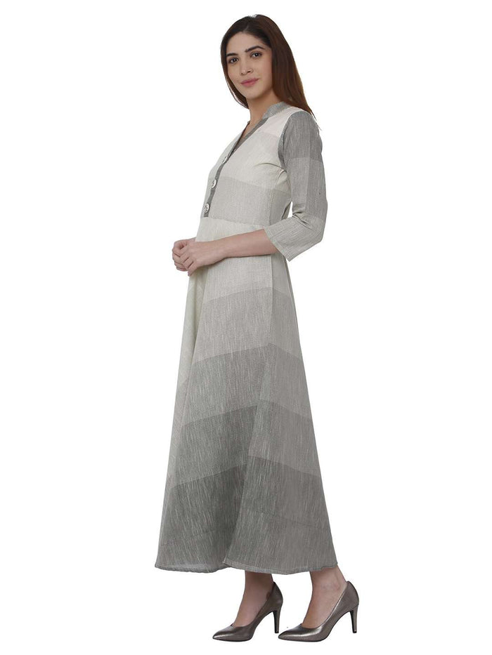 Left Side Hnadloon Cotton Kurti With White Color