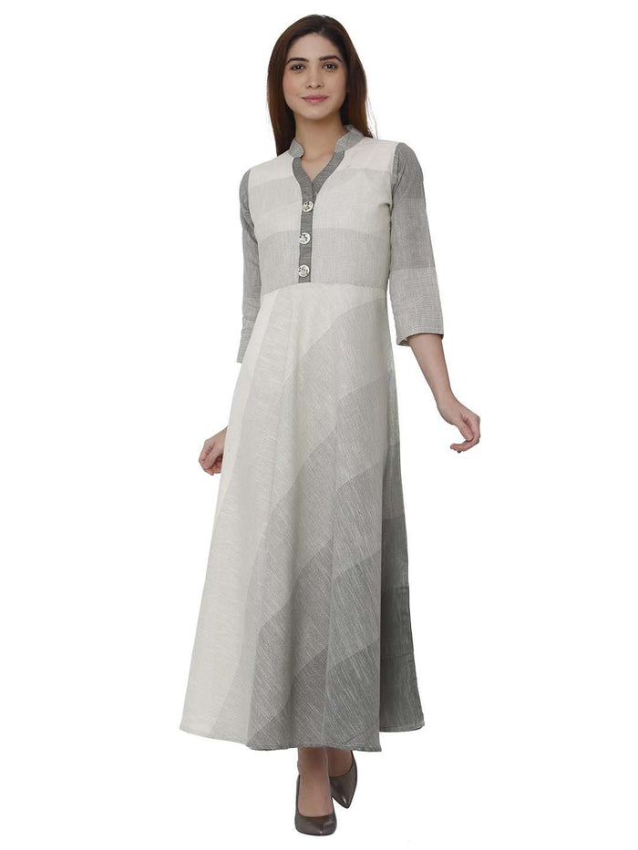 Front Side Handloon Cotton Kurti With White Color