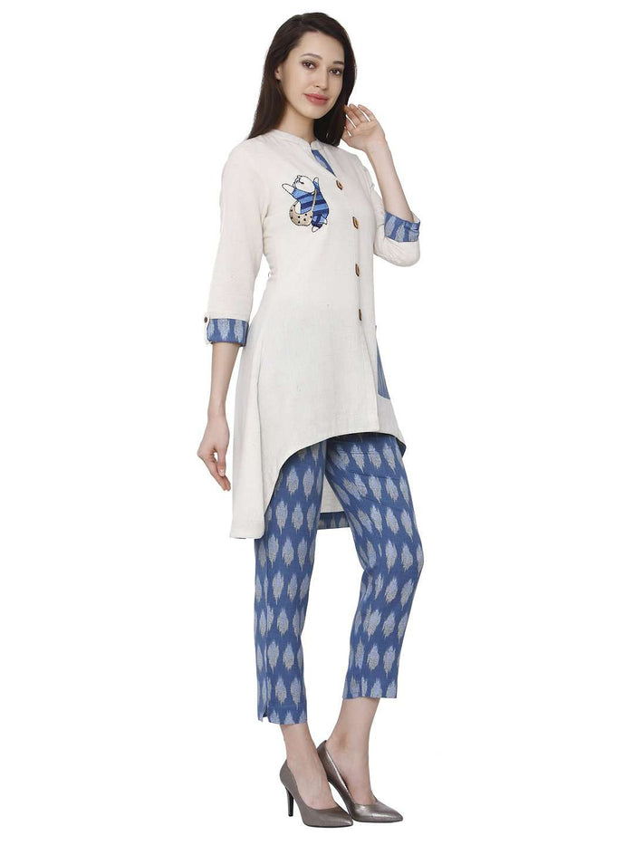 Right Side White & Blue Cotton Rayon Printed Kurti With Pants Set