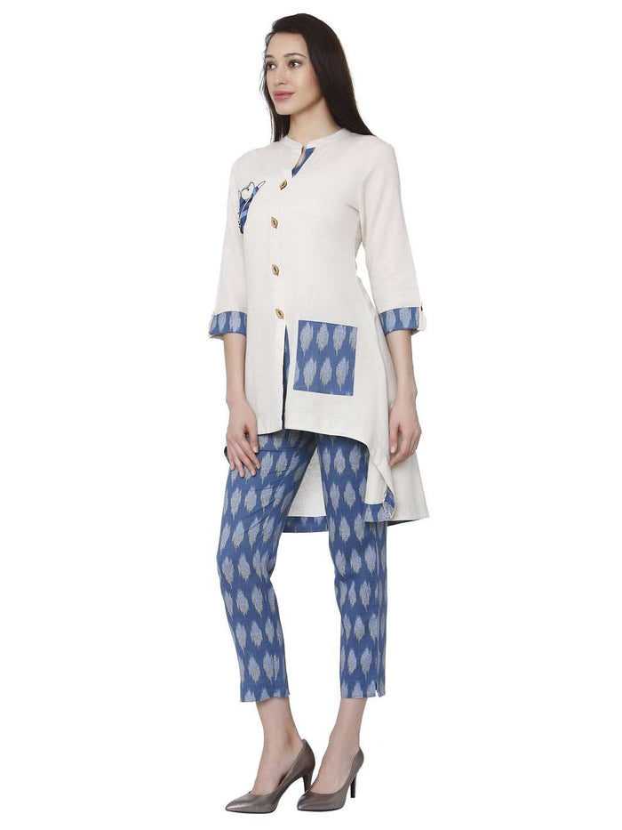 Left Side White & Blue Cotton Rayon Printed Kurti With Pants Set