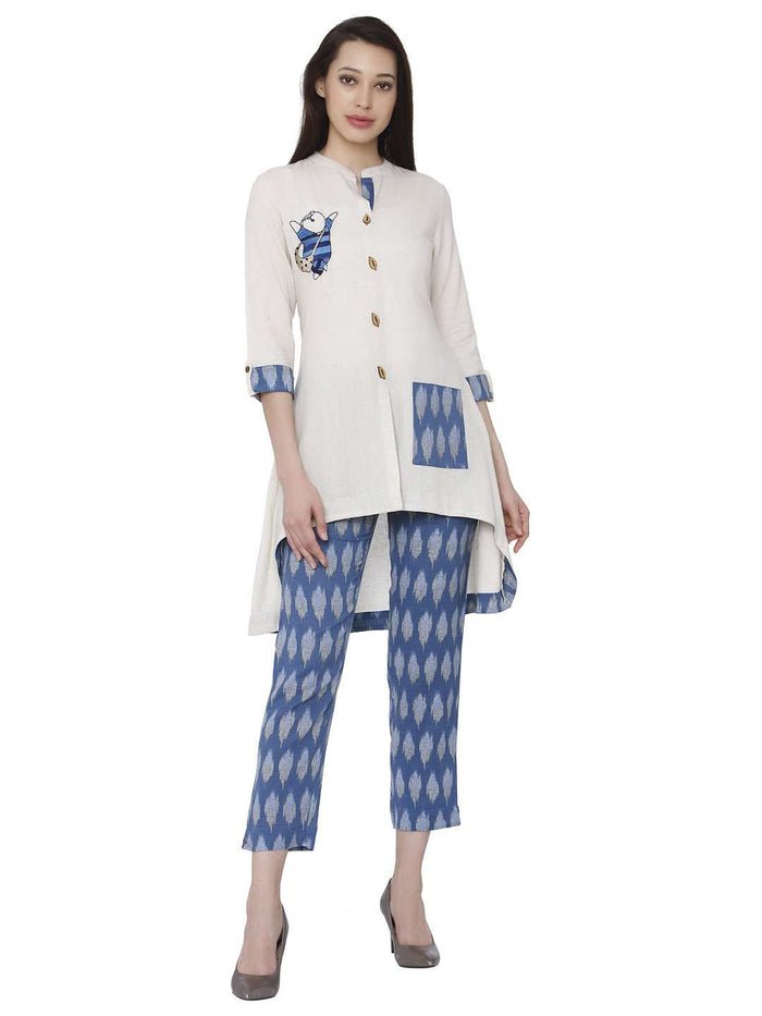 White & Blue Cotton Rayon Printed Kurti With Pants Set