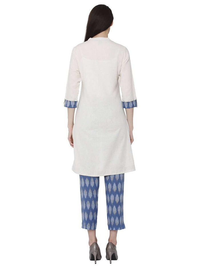 Back Side White & Blue Cotton Rayon Printed Kurti With Pants Set