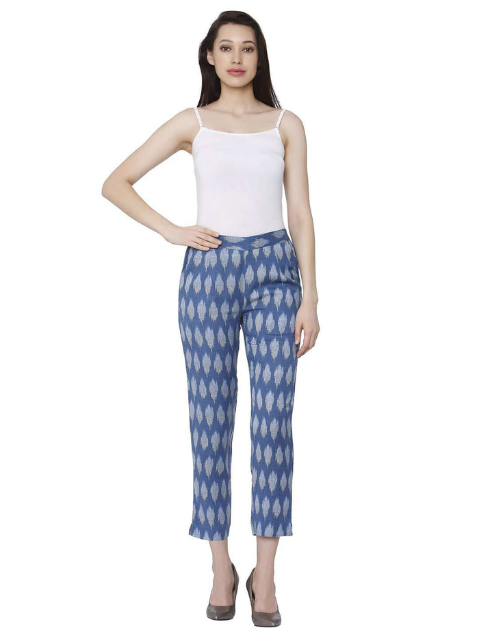 Front Side White & Blue Rayon Printed Pant
