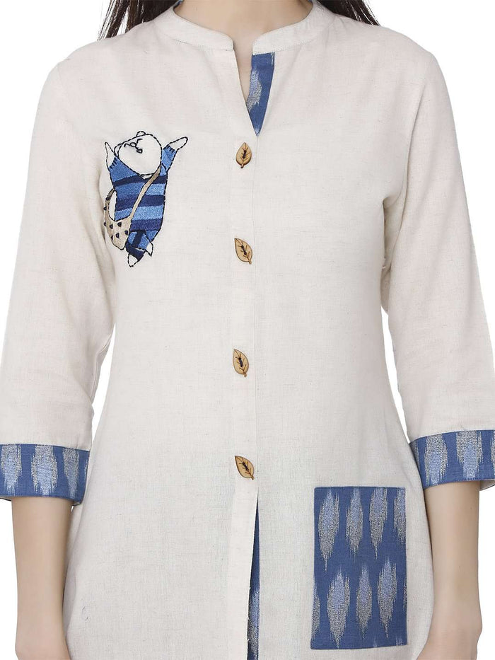 Front Side Cotton Rayon Printed Kurti With White & Blue Color