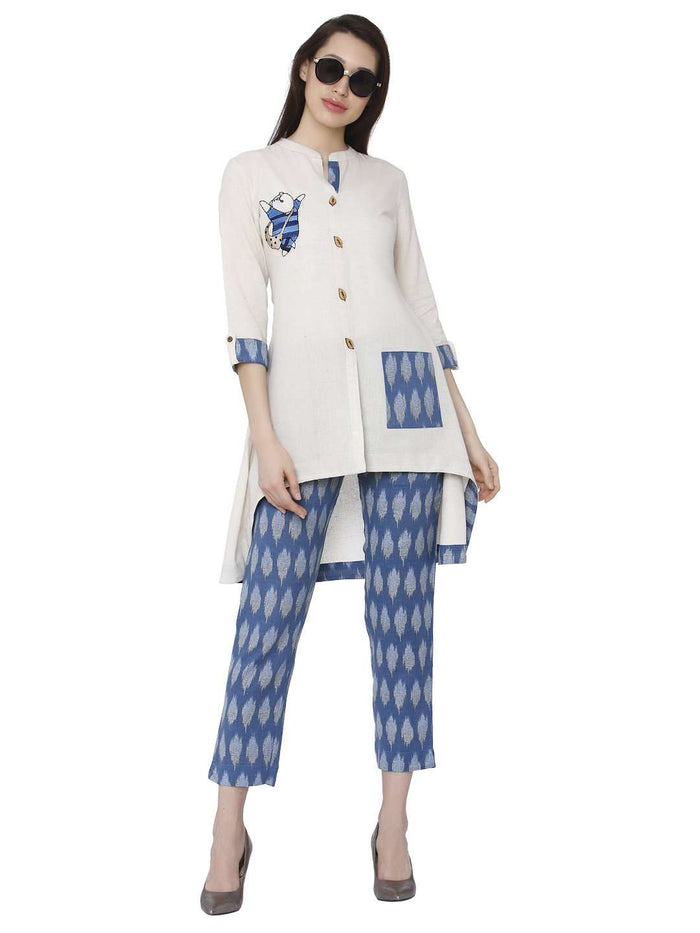 Casual Cotton Rayon Printed Kurti & Pant Set With White & Blue Color