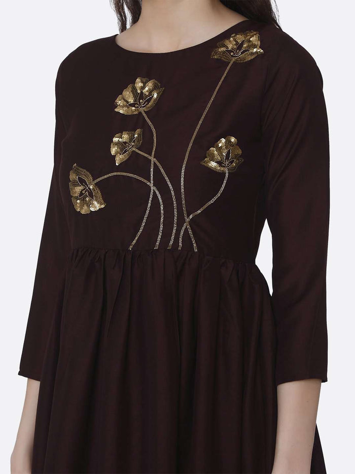 Front Side Brown Embroidered Viscose Plain Long Kurti