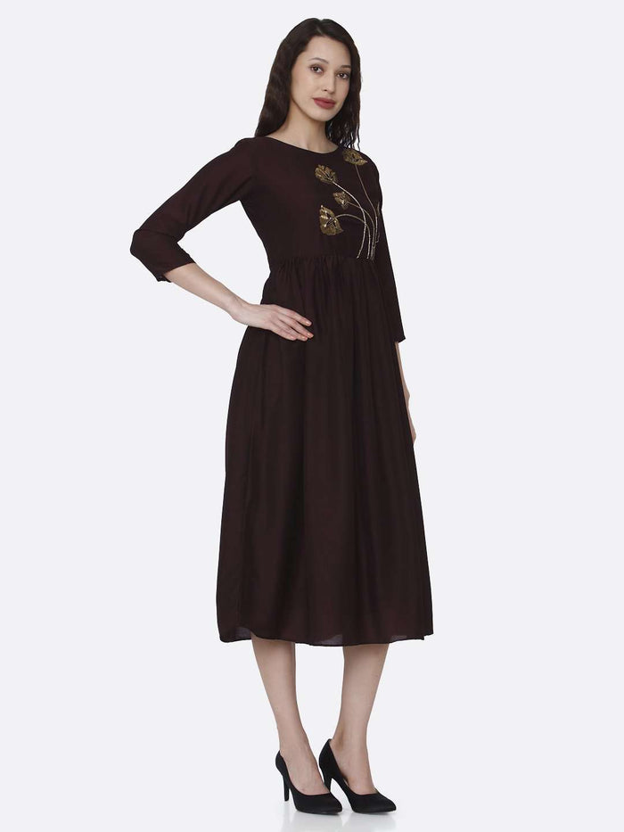Right Side Embroidered Viscose Plain Long Kurti With Brown Color