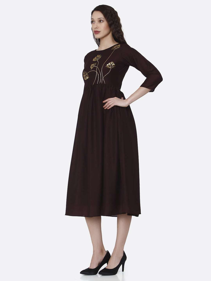 Left Side Brown Embroidered Viscose Plain Long Kurti
