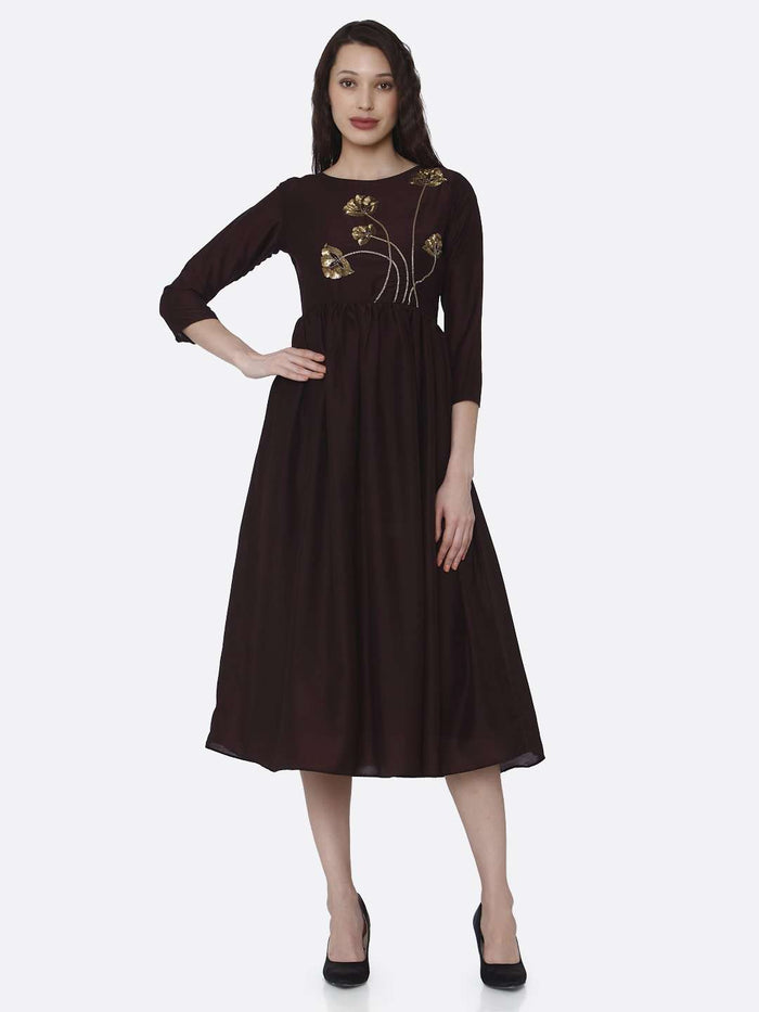 Full Front Side Embroidered Viscose Plain Long Kurti With Brown Color