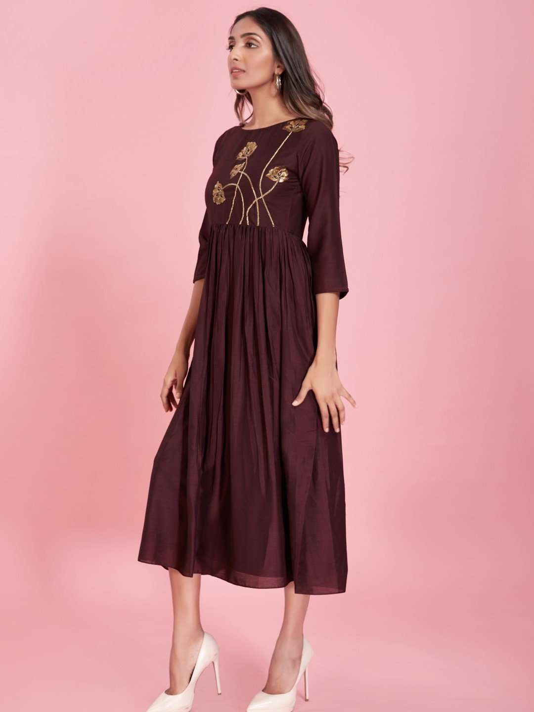Left Side Embroidered Viscose Plain Long Kurti With Brown Color