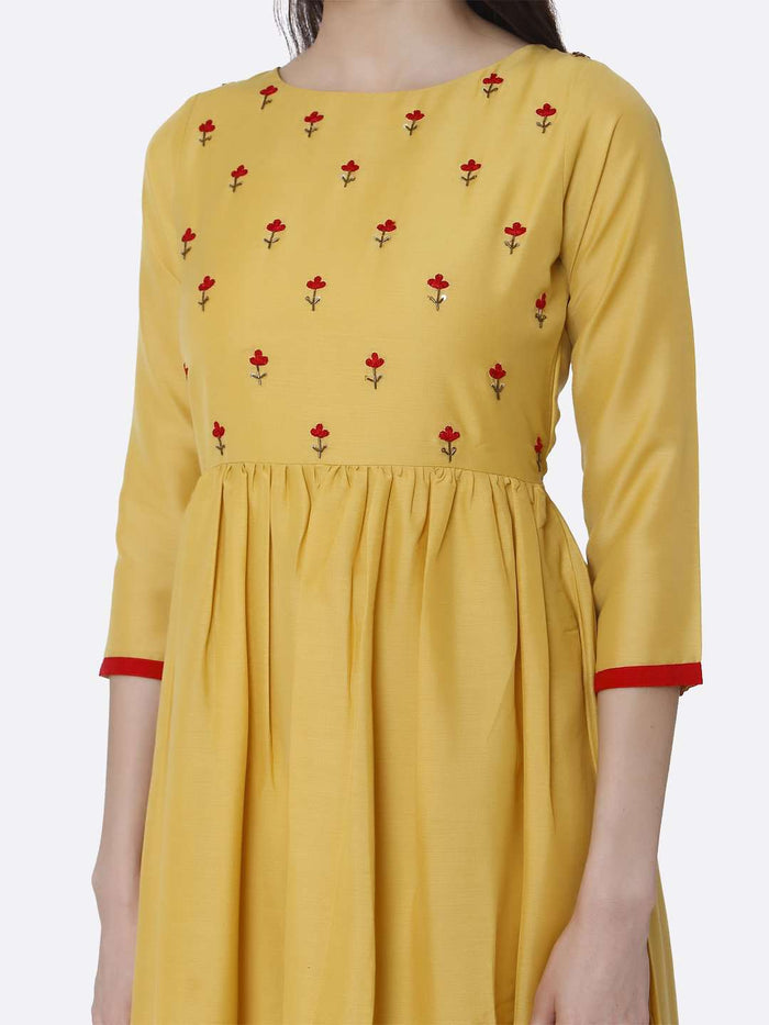 Front Side Yellow Embroidered Viscose Long Plain Kurti