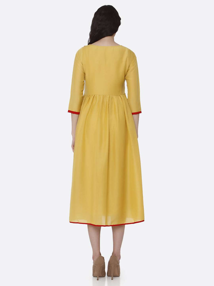 Back Side Embroidered Viscose Long Plain Kurti With Yellow Color