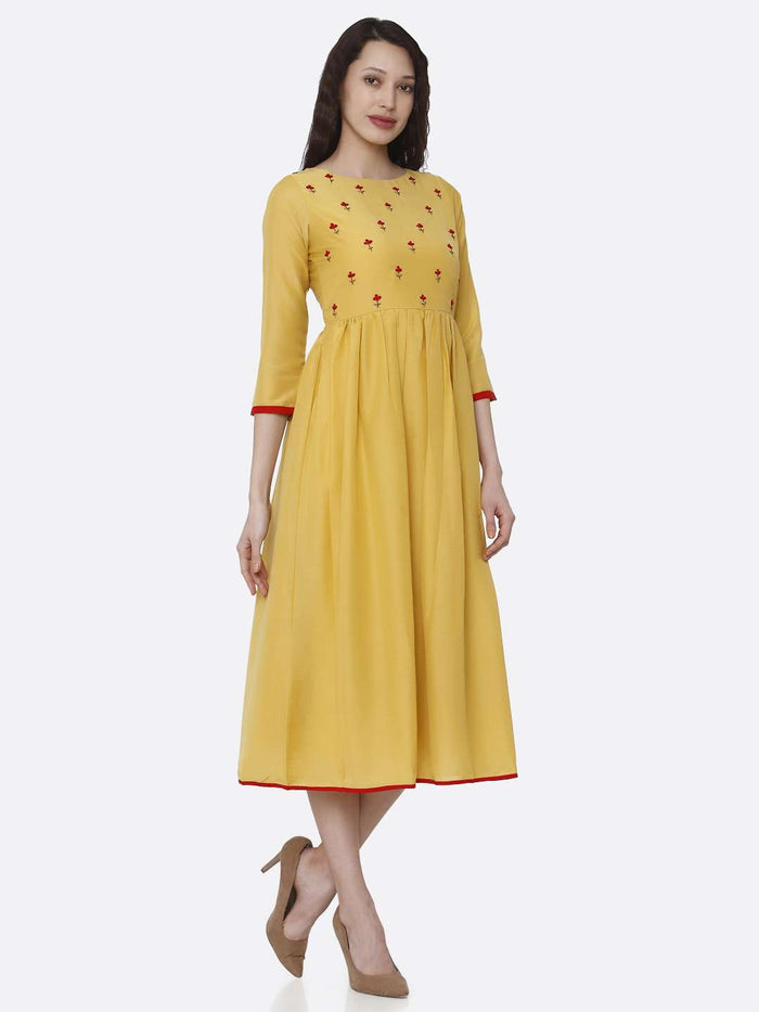 Right Side Embroidered Viscose Long Plain Kurti With Yellow Color