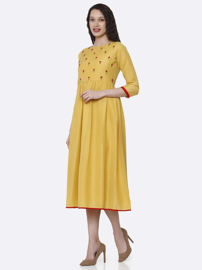 Left Side Embroidered Viscose Long Plain Kurti With Yellow Color