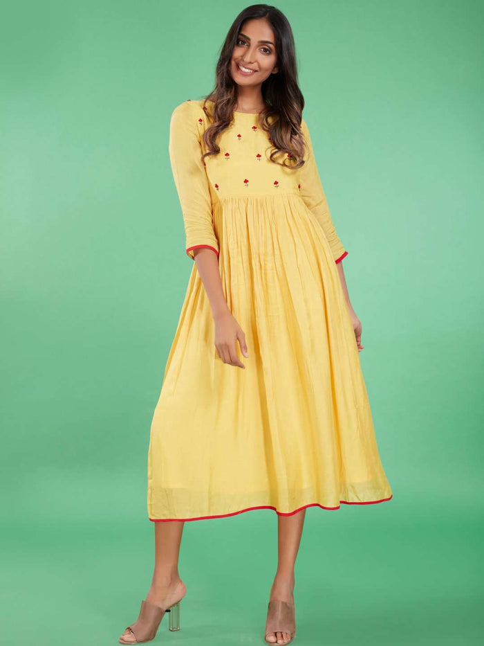 Front Side Embroidered Viscose Long Plain Kurti With Yellow Color