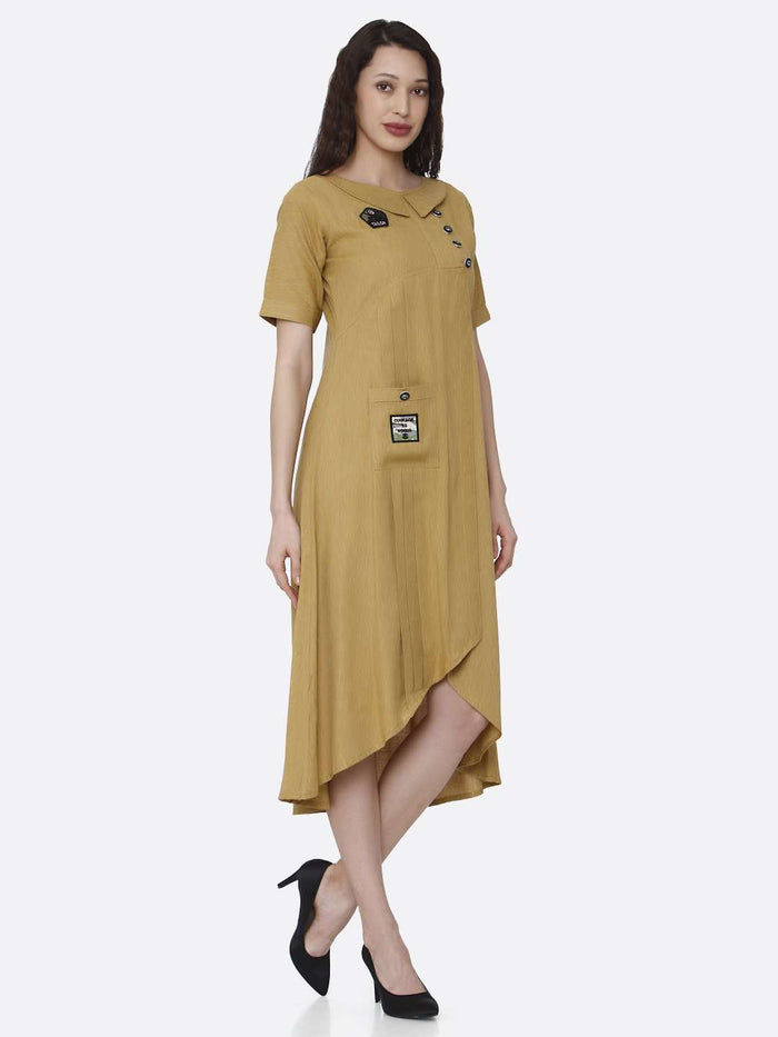 Right Side Mustard Plain Cotton Pleated Dress with Military Patches