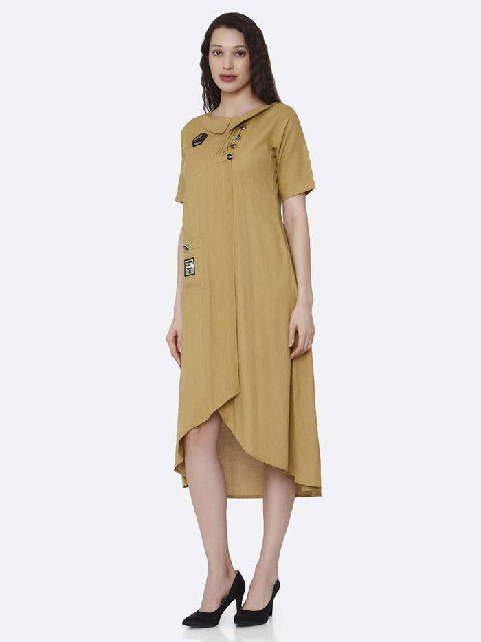 Left Side Mustard Plain Cotton Pleated Dress with Military Patches