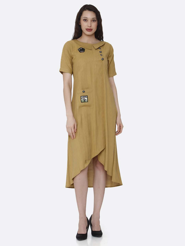 Mustard Plain Cotton Pleated Dress with Military Patches