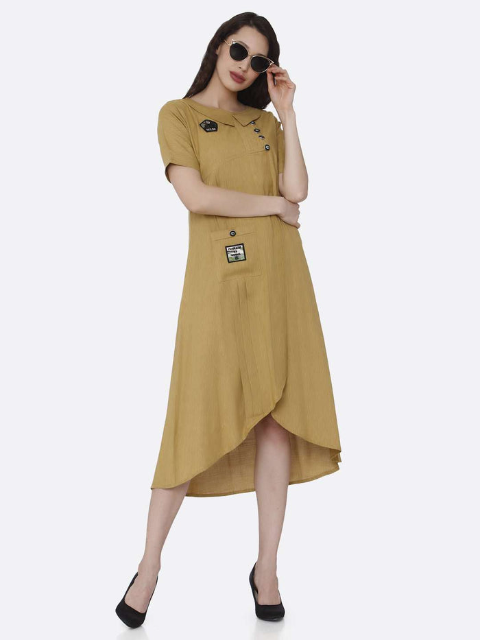 Casual Mustard Plain Cotton Pleated Dress with Military Patches