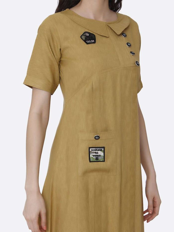 Right Side Plain Cotton Pleated Dress With Military Patches