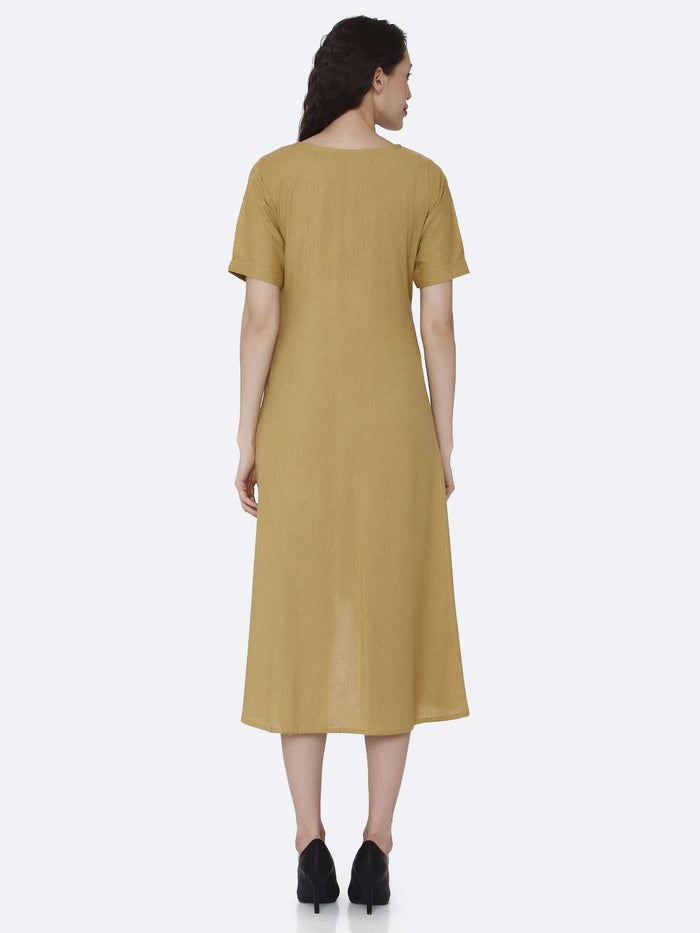 Back Side Mustard Plain Cotton Pleated Dress with Military Patches