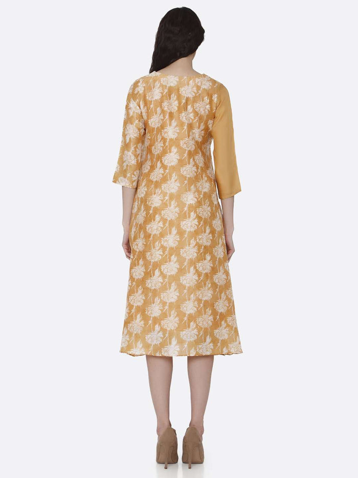 Back Side Viscose Printed Kurti With Yellow Color