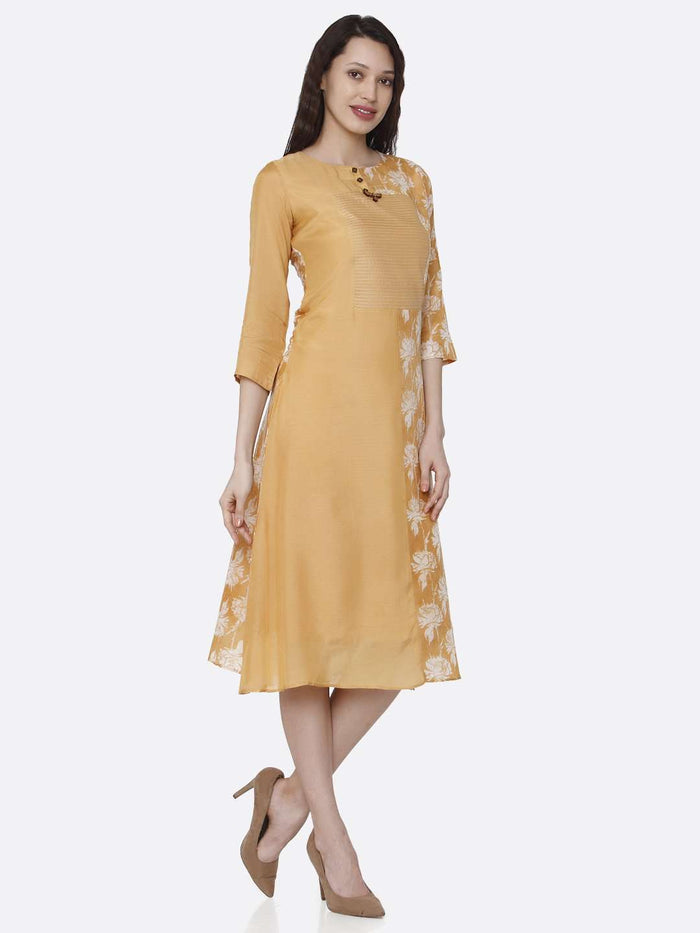 Right Side Viscose Printed Kurti With Yellow Color