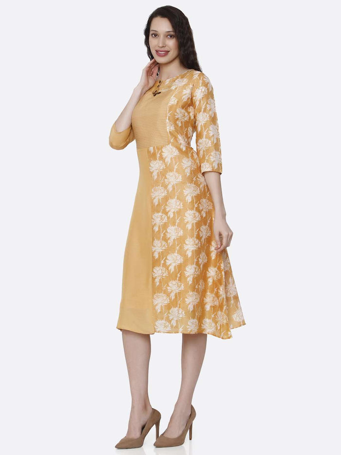 Left Side Viscose Printed Kurti With Yellow Color