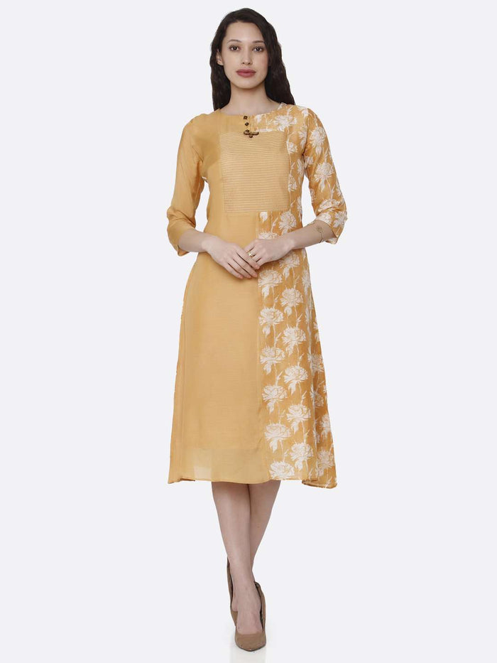Front Side Viscose Printed Kurti With Yellow Color
