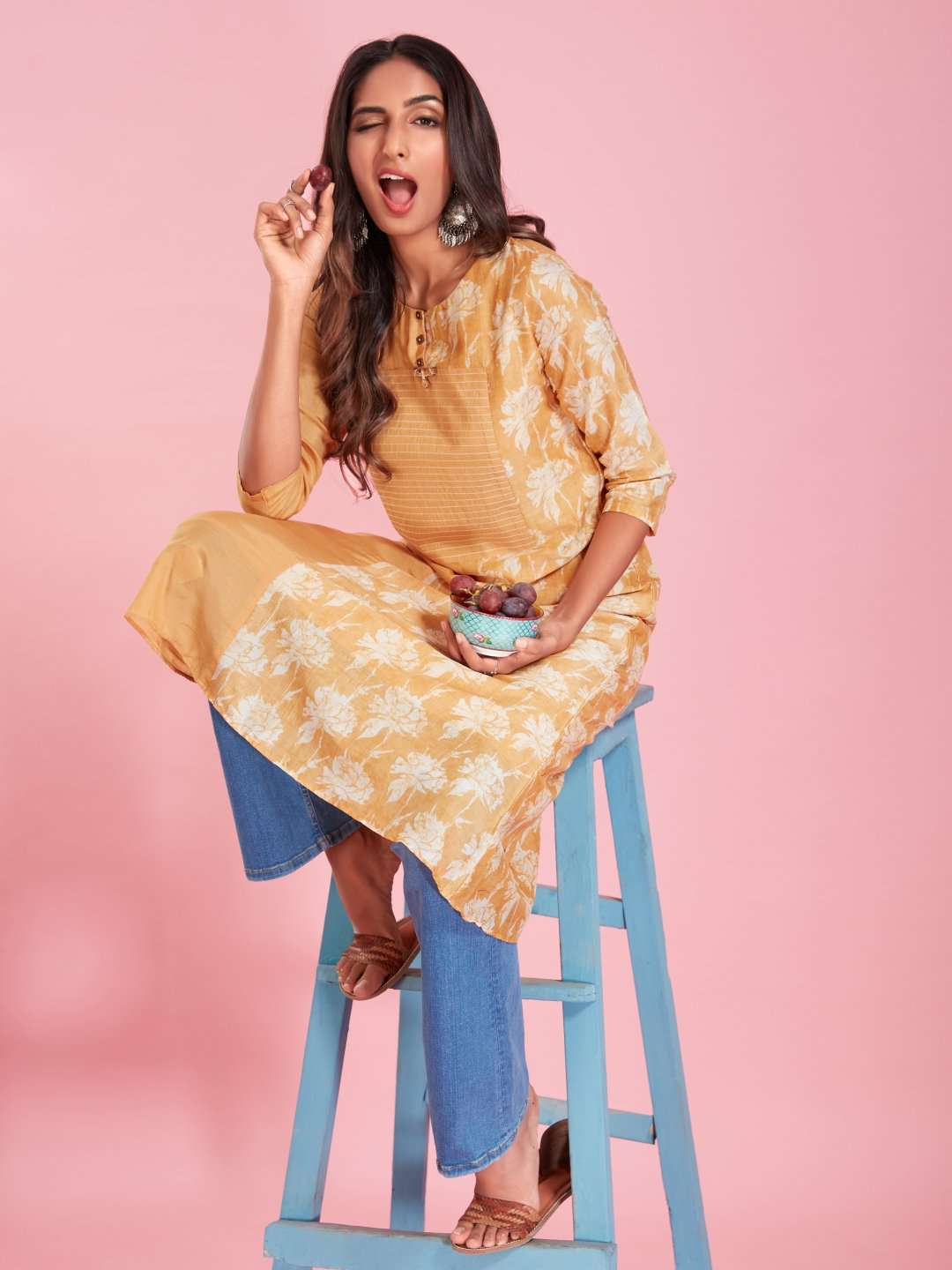 Front Side Yellow Viscose Printed Kurti With Denim Palazzo Pant