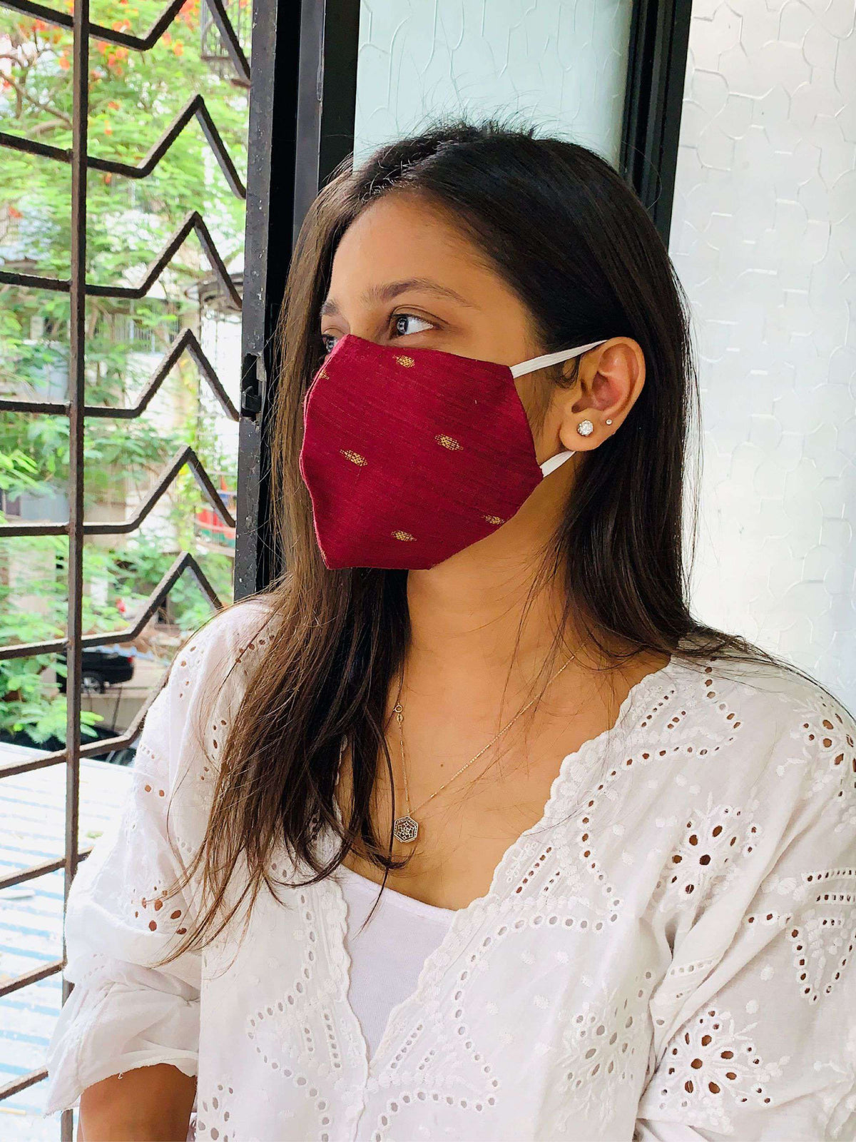 Weaved Double Layered Mask For Women With Pink Color