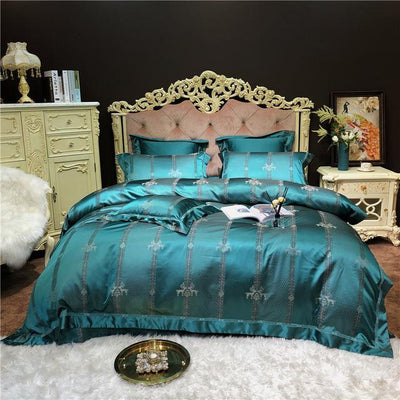 Luxury Silver Bed Set With Duvet Cover