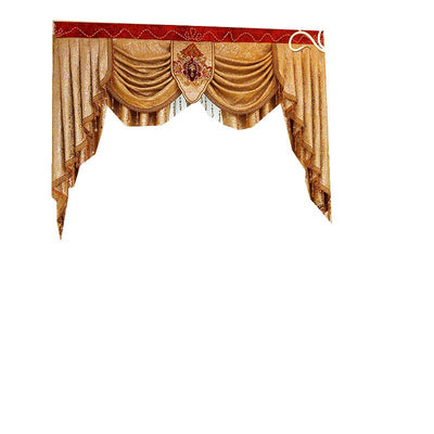 European Style Hollow Water-Soluble Embroidery Gauze Window Golden Bedroom Curtains