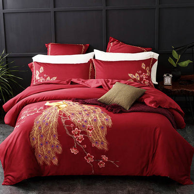 Luxurious Bedding Sets With Embroidery Egyptian Duvet Cover Bedsheet And Pillow Cases