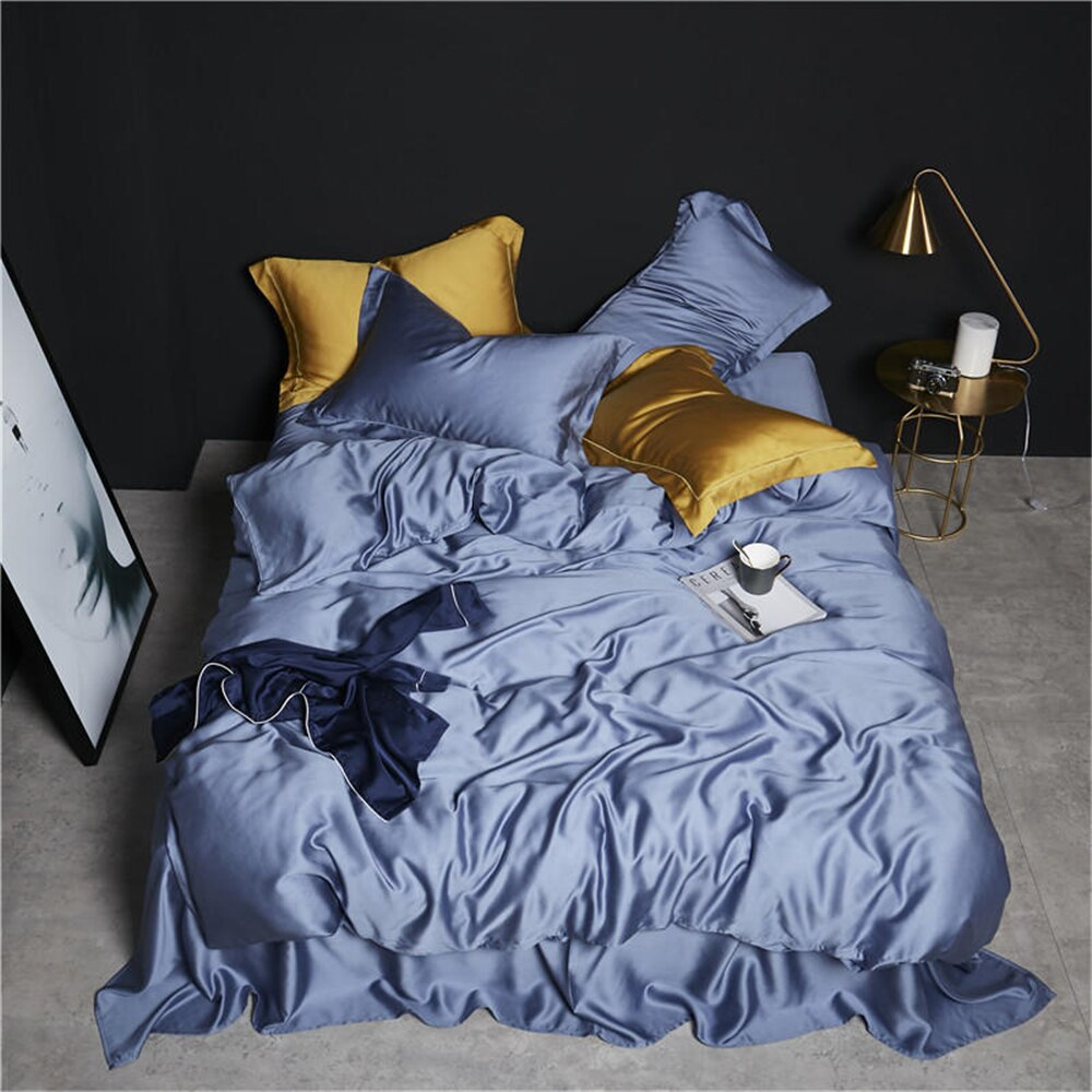 Slowdream Luxury Blue 100% Silk Bedding Set With Super Soft Duvet Cover And Flat Sheet Pillwocase