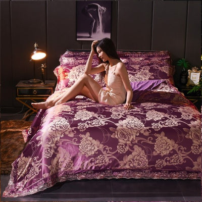 Luxury Cotton And Silk Blend 4Pc Bedsheet Set