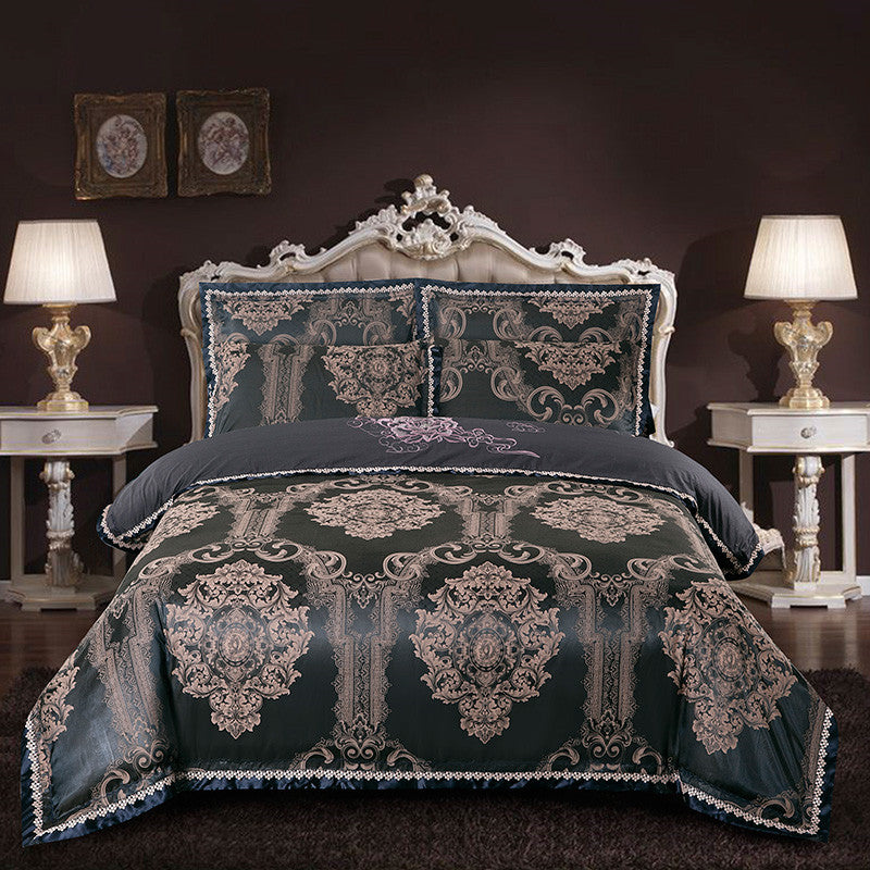 Thick Cotton Luxury King Queen Size Bed Set. Duvet Cover Bedsheet Set