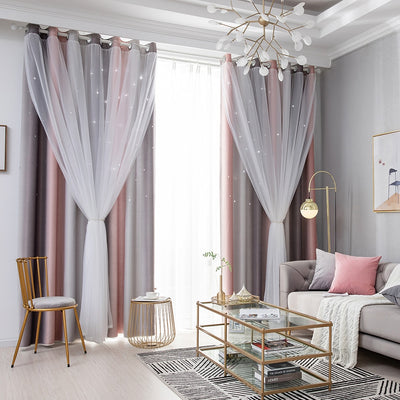 1 Panel Star Blackout Curtains With Colorful Double Layer