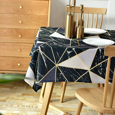 Black Geometric Tablecloth Waterproof Rectangular Dining Tablecloth Household Restaurant Patio Chairs Cover Js136C