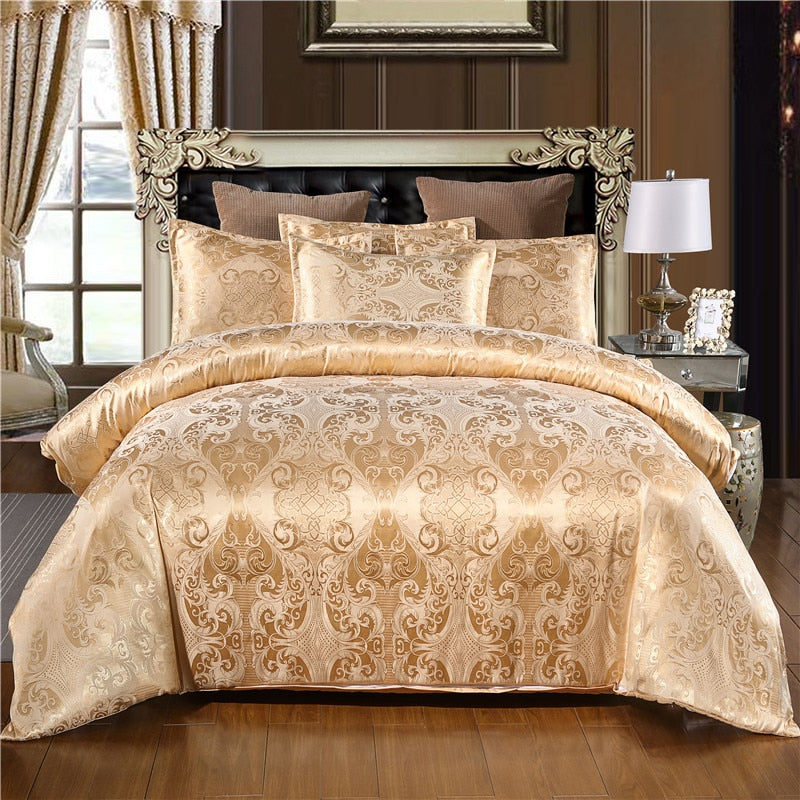 Claroom Bedding Set With High Quality Luxury Gold Colour Duvet Cover In 2/3Pcs With Comforter