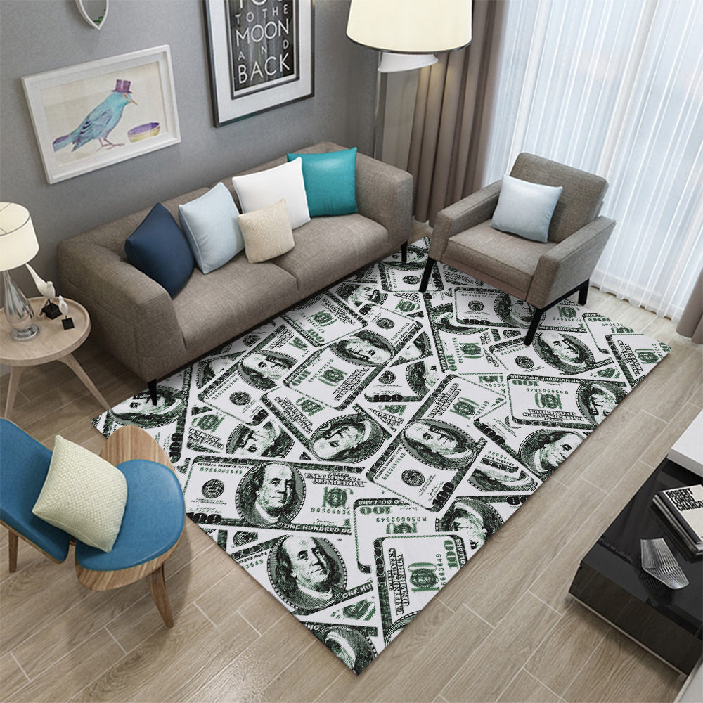 Miracille Money Dollar 3D Lounge Carpets For Living Room