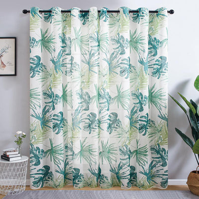 Green Leaves Sheer Curtains For Living Room And Bedroom