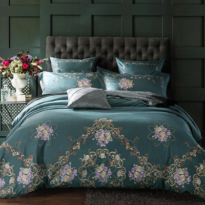 Embroidered Europe Royal Bedding Set In Cotton Silk | 4/6Pcs Duvet Bedlinen Covers