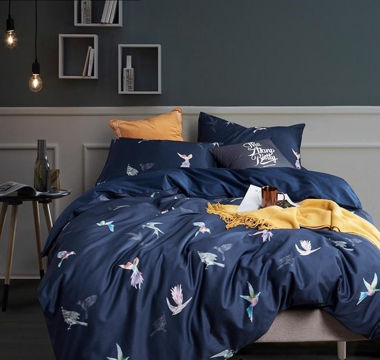 Royal Blue Bird Printed Luxury Bedding Set With 100% Egyptian Cotton